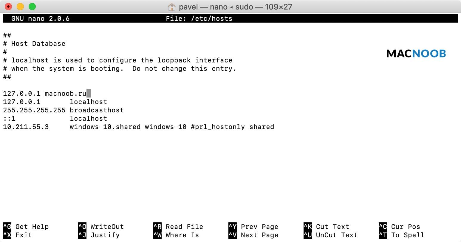 kak redaktirovat fajl hosts na macos