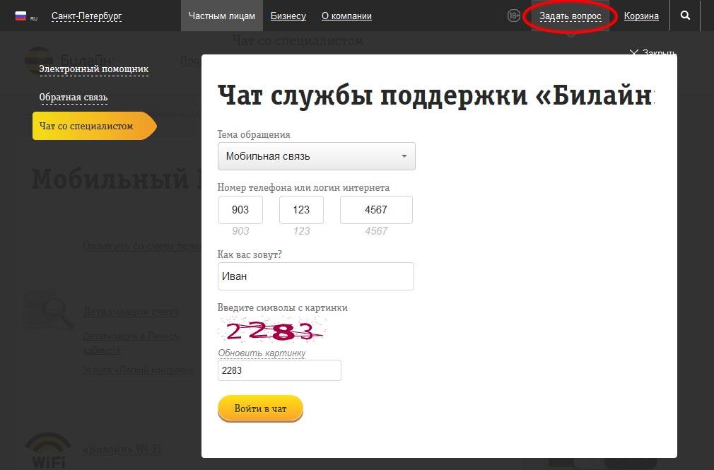 onlajn chat so specialistom bilajn kak svyazatsya